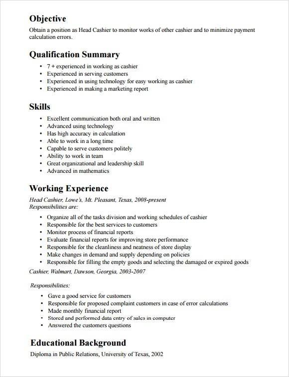 10 Cashier Resume Templates – Free Samples Examples