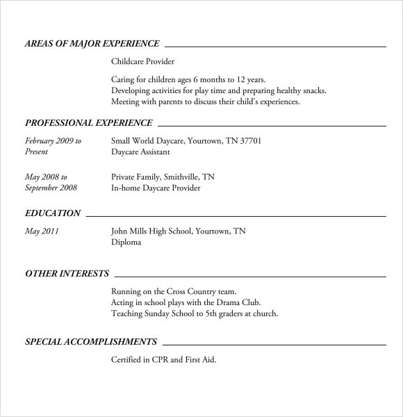 Babysitting Resume Templates Nanny Resume Template Resume Sample