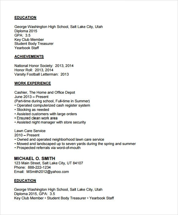 Example Of A High School Student Resume  Examples Of Resumes