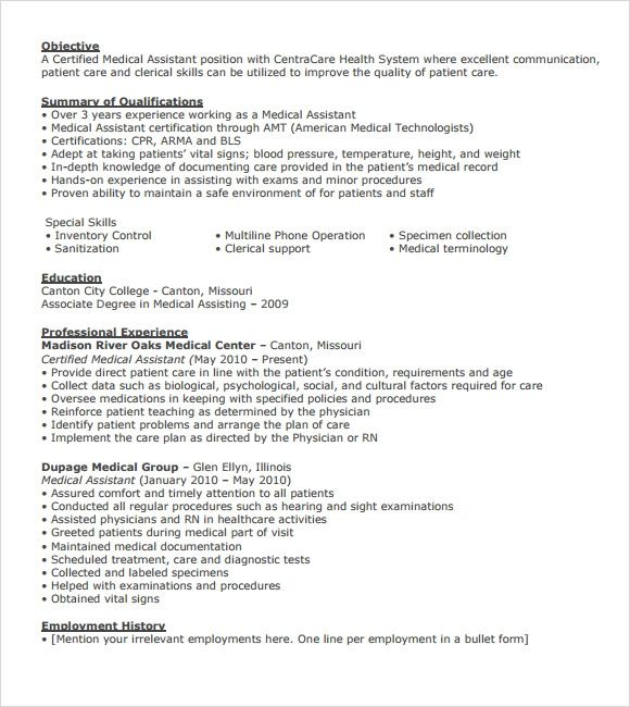 free medical resume templates download