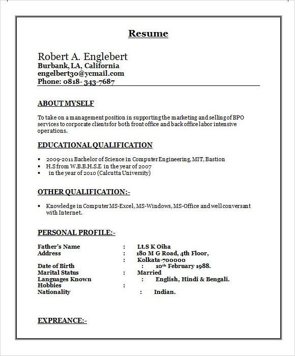 Free 15 Sample Bpo Resume Templates In Ms Word Pdf