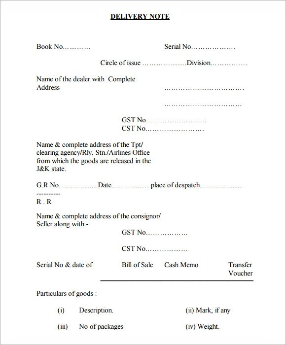 Delivery Note Template 21 Download Free Documents In