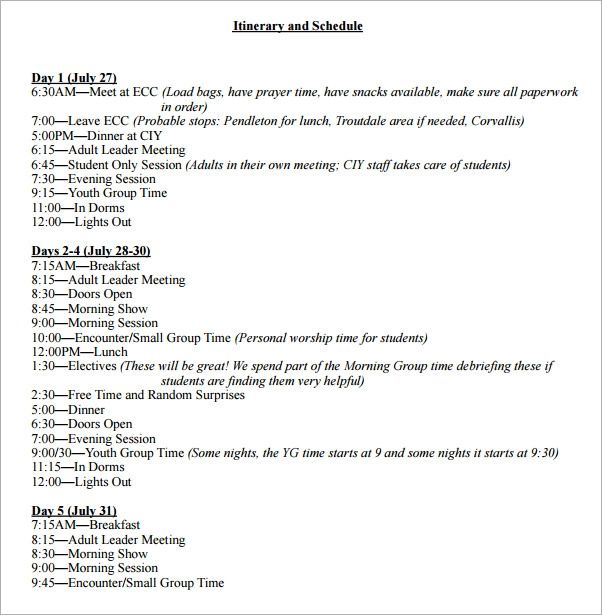 examples of itinerary