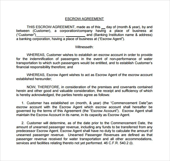 The escrow agreement must also include full details of the conditions of the escrow arrangement and process that is between the parties. Free 12 Sample Escrow Agreement Templates In Google Docs Ms Word Pages Pdf