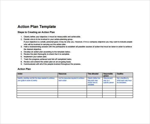 10+ Sample Action Plans   Sample Templates