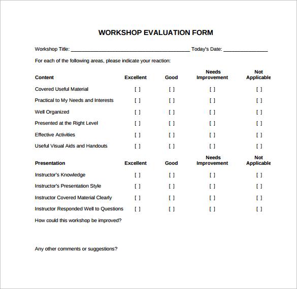 simple evaluation form