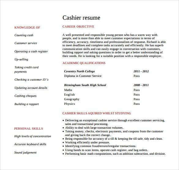 Cashier Resume  9 Free Samples Examples Format