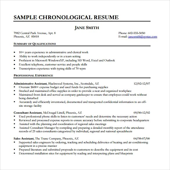 10 Chronological Resume Templates – Samples Examples