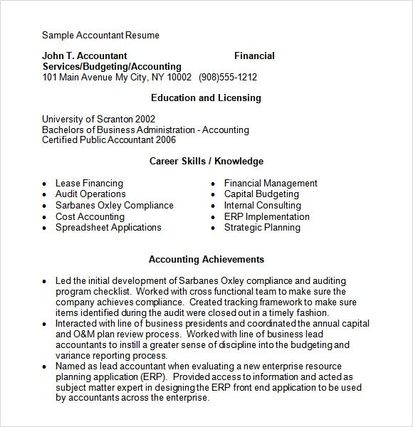 word accounting resume template