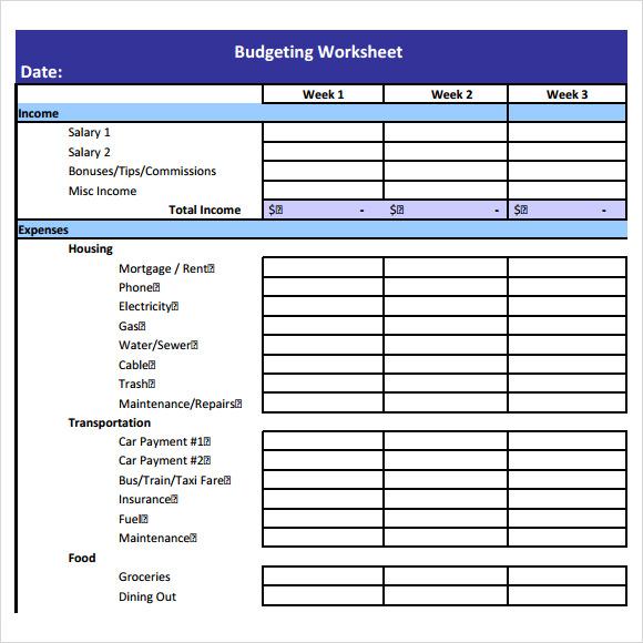 7 Budget Worksheet Templates Free Sample Examples