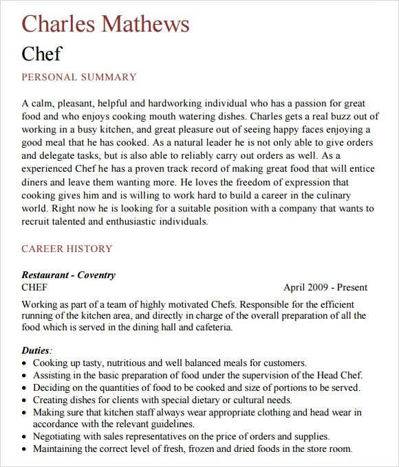 sample chef resume objectives