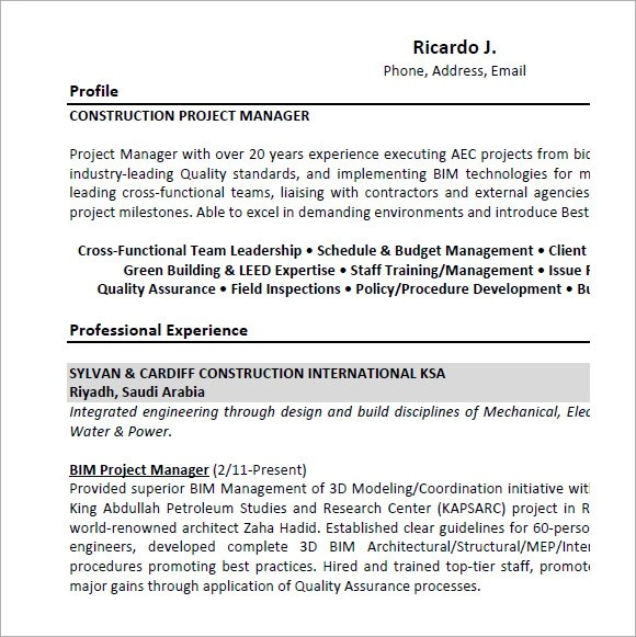 Project Manager Resume – 9 Samples Examples Format