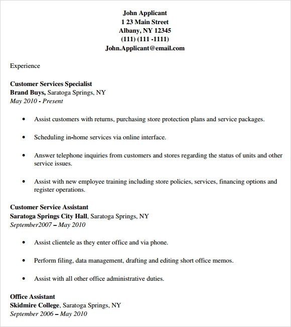 8 Customer Service Resume Templates – Free Samples