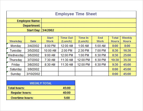Time Sheet Template 10 Free Samples Examples Format