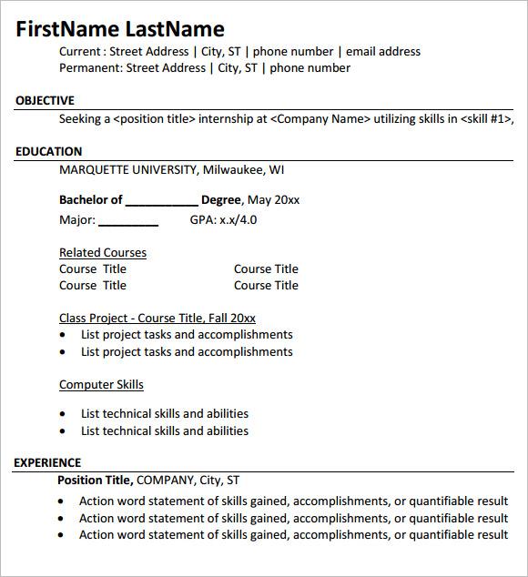 resume format examples for internship