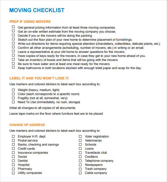 12 moving checklist templates