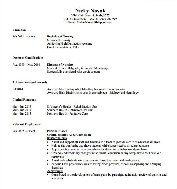 9 Nursing Resume Templates – Free Samples Examples