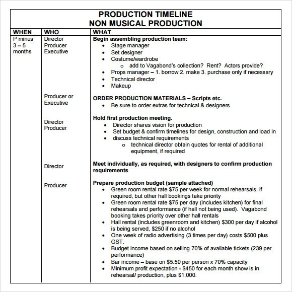 Production Timeline Template 9 Download Free Documents