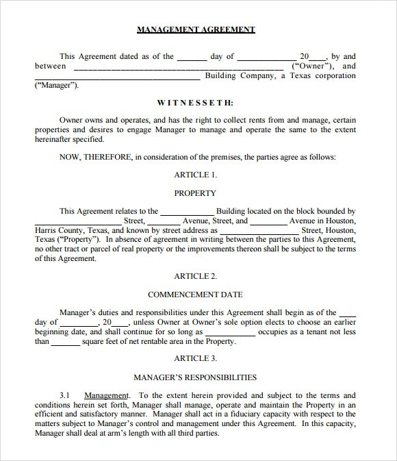 9 Sample Property Management Agreement Templates To Download Sample Templates