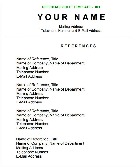 Sample Reference Sheet  12 Examples Format