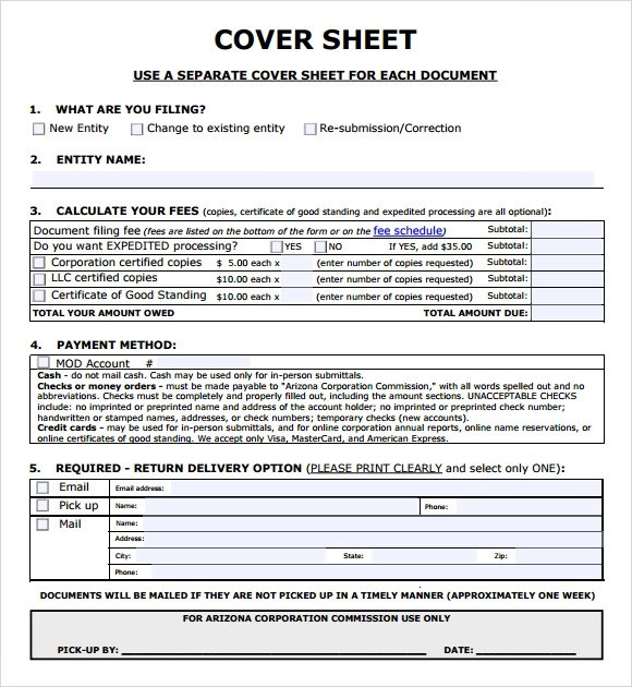 10 Sample Cover Sheets Sample Templates