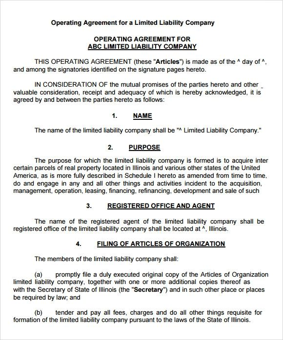 operating agreements for llc sample