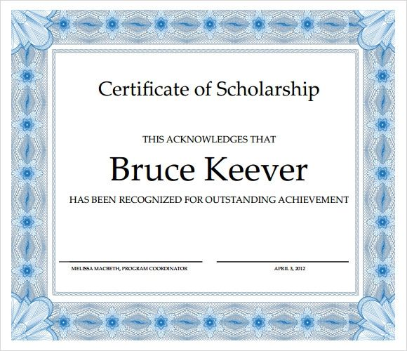 scholarship certificate template for word