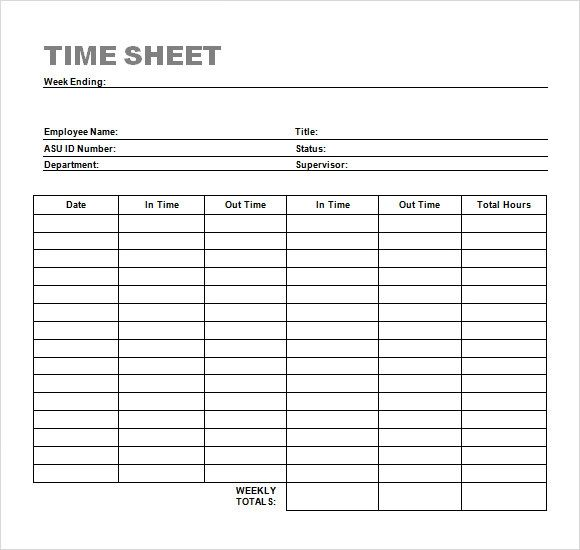 time in sheet