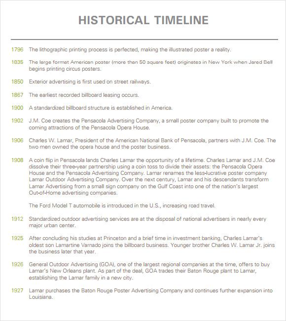Sample Advertising Timeline. Project Timeline Example Sample ...