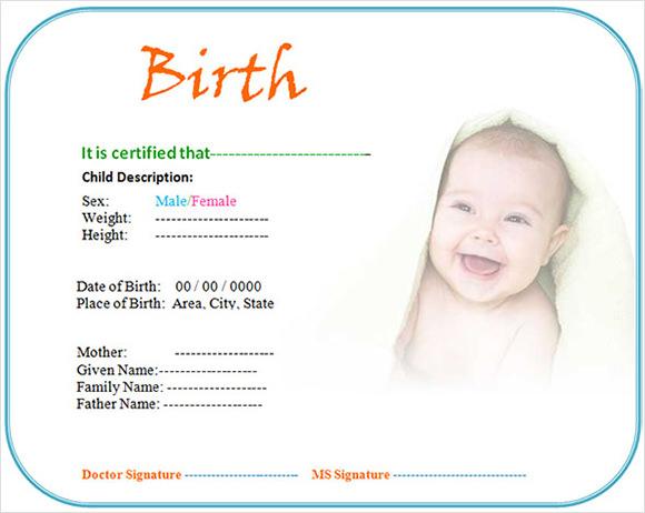 fill in birth certificate