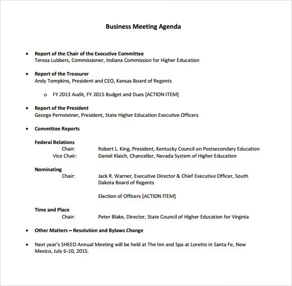 Business Meeting Agenda – 5 Free Samples Examples Format