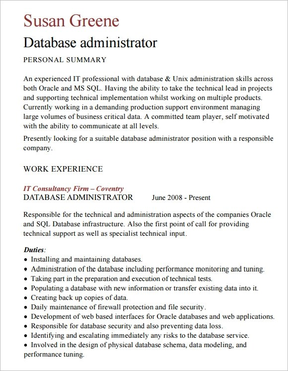 Free 9 Sample Database Administrator Resume In Word Pdf