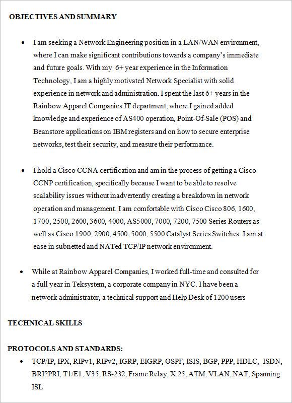 resume for network engineer