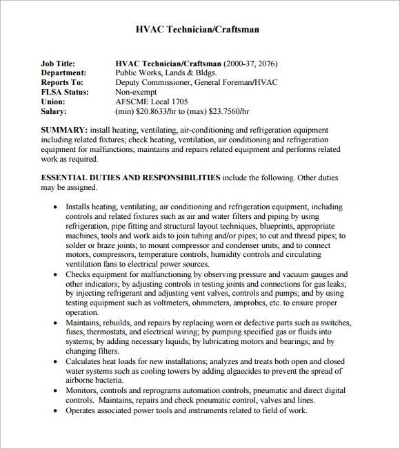 Resume Template Hvac - Resume Examples | Resume Template