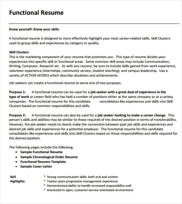 Functional Resume Examples Functional Resume Sample Functional  Sample Functional Resumes