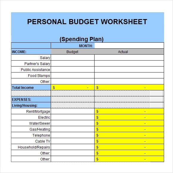 Amazing Free Personal Budget Template Frieze - Professional Resume ...