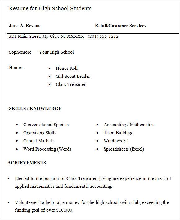 resume for highschool students sample
