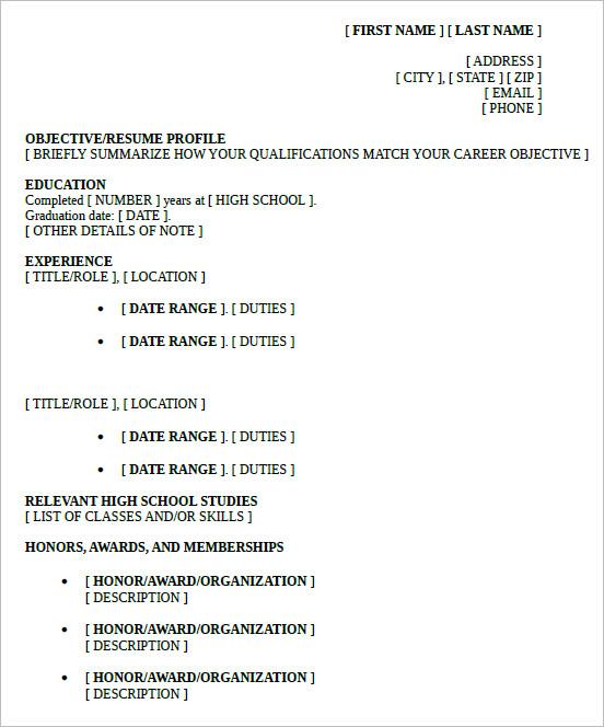 sample high school graduate with work experience resume