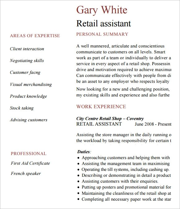 10 Retail Resume Templates  Samples  Examples  Format