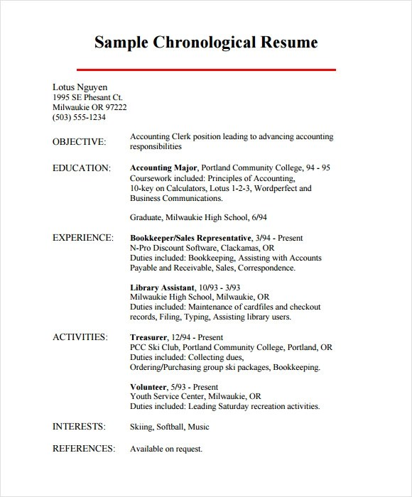 Chronological Resume Samples Examples Chronological Resume
