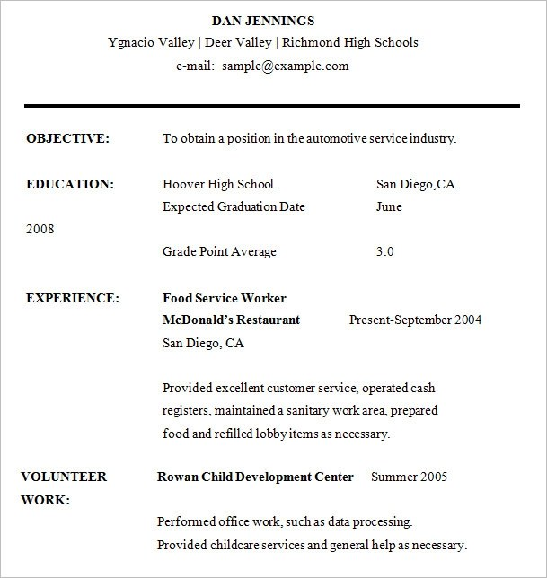 High School Resume Template Word Out Of High School Resume