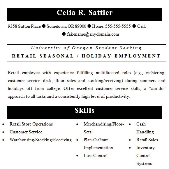 10 Retail Resume Templates – Samples Examples & Format