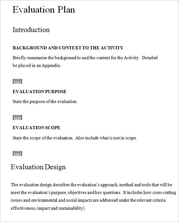 7 Evaluation Plan Templates Free Samples Examples Format