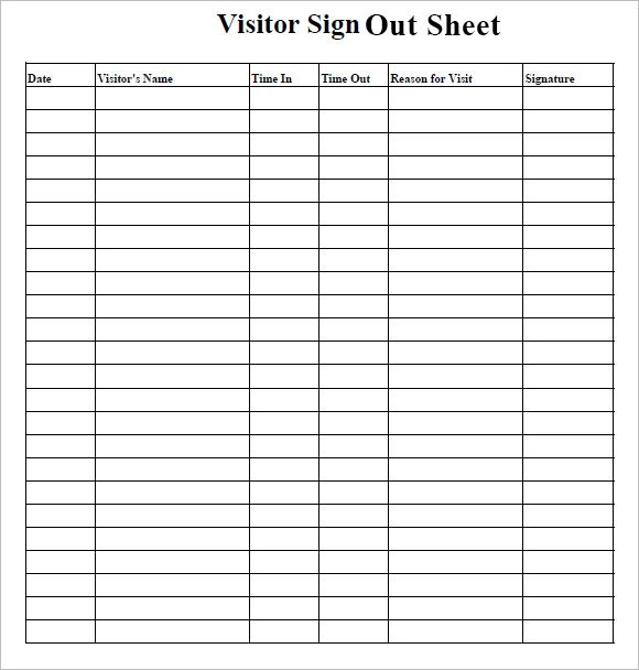 Equipment Sign Out Form