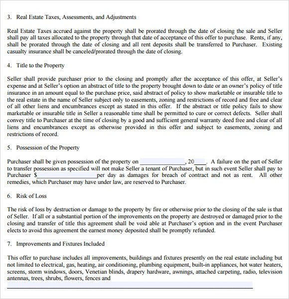 Real Estate Purchase Agreement 9 Free Samples Examples Format