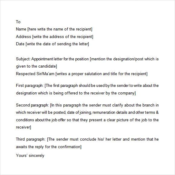 sample of offer of appointment letter
