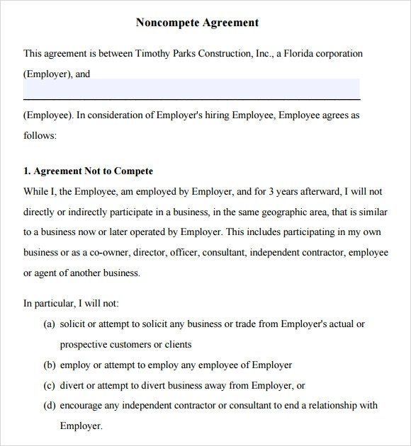 7 Non Compete Agreement Samples Examples Templates