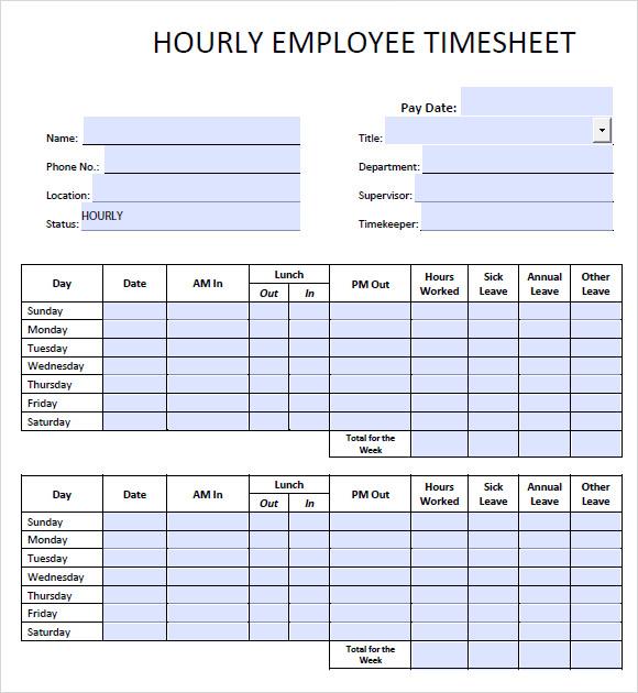 weekly hourly timesheet