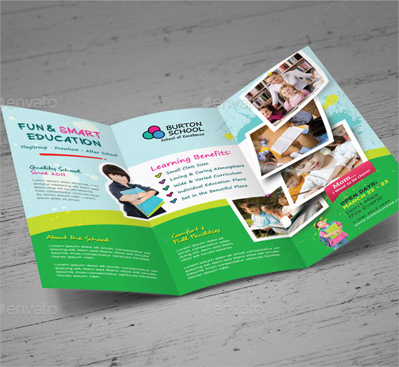 10 Preschool Brochure Vector EPS PSD
