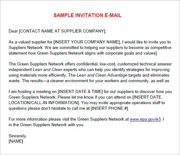 9 Sample Email Invitations Word PDF PSD AI